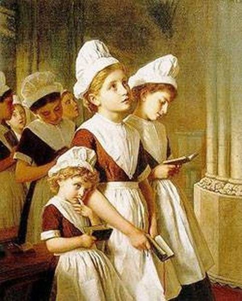 founding girls in their school dresses at prayer in the chapel 1877
